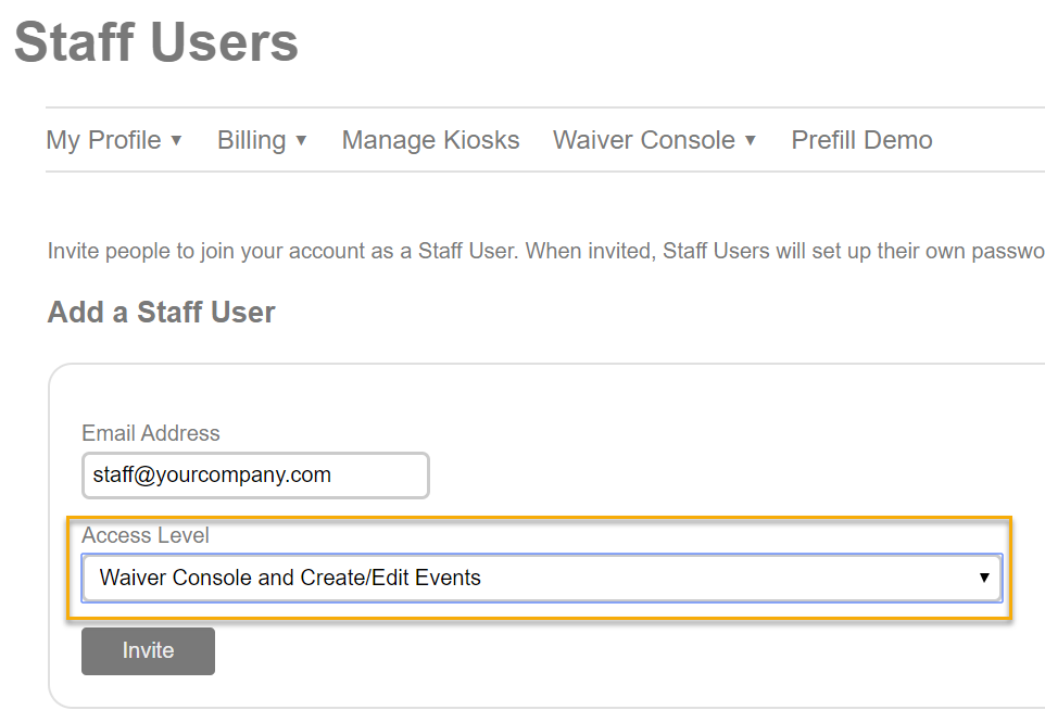 Staff User Access to Events